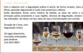 Workshop 17 de Agosto às 18h – Vinho Mercearia 3M